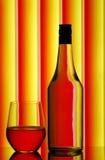 Vidrio de la botella y de vino Foto de archivo