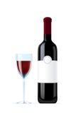 Vidrio de la botella y de vino Foto de archivo libre de regalías