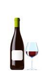Vidrio de la botella y de vino Fotografía de archivo libre de regalías