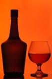 Vidrio de la botella y del coñac Fotos de archivo