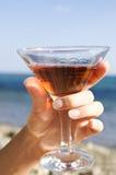 Vidrio de la explotación agrícola de la mano de vino Fotografía de archivo libre de regalías