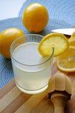 Vidrio de la limonada y un retrato del exprimidor fotografía de archivo