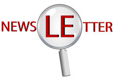 Vidrio de la lupa - boletín de noticias Foto de archivo