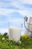Vidrio de la mantequera de la leche y de leche del vintage fotografía de archivo