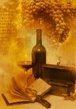 Vidrio de la vendimia y vino de la botella Foto de archivo libre de regalías