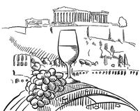Vidrio de la vid en barril delante de la acrópolis, Atenas Ilustración del Vector