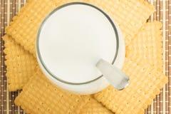 Vidrio de leche con las galletas Fotografía de archivo libre de regalías