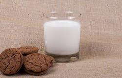 Vidrio de leche con las galletas de la pasta dura de chocolate Fotografía de archivo