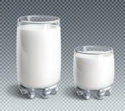 Vidrio de leche en fondo transparente ilustración del vector