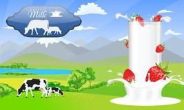 Vidrio de leche en la fresa del chapoteo de la leche Campos hermosos de la montaña y del prado del paisaje de la naturaleza con l ilustración del vector