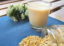 Vidrio de leche de la avena imagenes de archivo