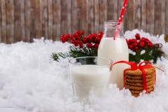 Vidrio de leche y de galletas Fotos de archivo