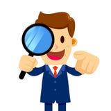 Vidrio de Looking Through Magnifier del hombre de negocios que le busca stock de ilustración