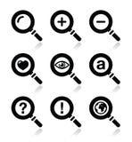 Vidrio de Magnyfying, iconos de la búsqueda fijados Fotografía de archivo libre de regalías