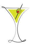 Vidrio de Martini con la aceituna ilustración del vector