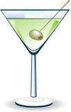 Vidrio de Martini con la aceituna stock de ilustración