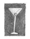 Vidrio de Martini con la cereza de marrasquino Fotografía de archivo