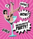 Vidrio de Pin Up Girl In Martini ilustración del vector