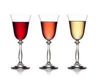 Vidrio de rojo, de rosa y de vino blanco Fotografía de archivo libre de regalías