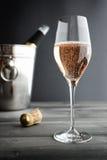 Vidrio de Rose Pink Champagne y del refrigerador Fotos de archivo libres de regalías