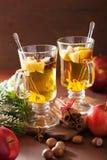 Vidrio de sidra de manzana reflexionada sobre con la naranja y las especias, la Navidad de Fotografía de archivo libre de regalías