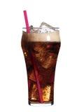 Vidrio de soda con hielo una paja rosada Fotografía de archivo libre de regalías