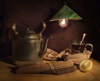 Vidrio de té caliente Foto de archivo libre de regalías