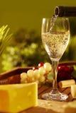 Vidrio de vino blanco al aire libre Imágenes de archivo libres de regalías