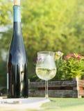 Vidrio de vino blanco con la botella en el jardín, comida campestre Fotografía de archivo