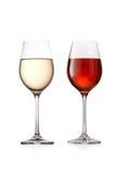 Vidrio de vino blanco rojo y Foto de archivo libre de regalías