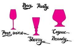 Vidrio de vino de Oporto, vidrio del jerez, coñac, vidrio de brandy Foto de archivo libre de regalías