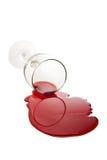 Vidrio de vino derramado Imagen de archivo libre de regalías