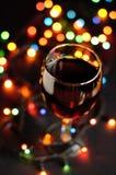 Vidrio de vino en Año Nuevo Fotografía de archivo libre de regalías