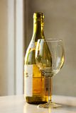 Vidrio de vino en el fondo verde del botle Fotos de archivo libres de regalías