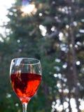 Vidrio de vino rojo al aire libre con la flama de la lente Fotografía de archivo