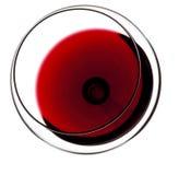 Vidrio de vino rojo Visión superior Fotografía de archivo libre de regalías
