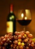 Vidrio de vino rojo y de uvas Fotografía de archivo libre de regalías