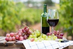 Vidrio de vino rojo y de uvas maduras en la tabla Imagen de archivo libre de regalías