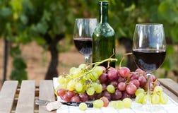 Vidrio de vino rojo y de uvas maduras en la tabla Fotos de archivo
