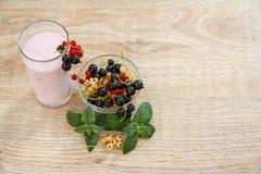 Vidrio de yogur de la pasa con las bayas frescas de rojo, negro, blanco Fotos de archivo libres de regalías