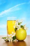 Vidrio de zumo de manzana fresco en superficie de madera contra el cielo azul Imagen de archivo