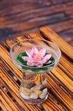 Vidrio del agua y de la flor Imágenes de archivo libres de regalías