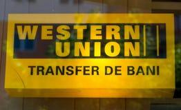 Vidrio del canal del logotipo del negocio de Western Union fotografía de archivo