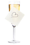 Vidrio del champán de la tarjeta del día de San Valentín Fotografía de archivo