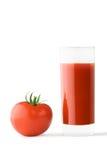 Vidrio del jugo de tomate y del tomate fotos de archivo