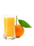 Vidrio del jugo y fruta anaranjada Foto de archivo