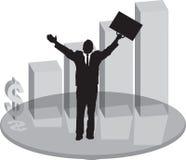 Vidrio del plinth de las ventas con el hombre de negocios Fotos de archivo