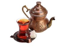 Vidrio del té y de la tetera Fotografía de archivo libre de regalías