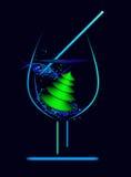 Vidrio del vector con el árbol del Año Nuevo Fotografía de archivo libre de regalías