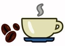 Vidrio del vector de café y de granos de café ilustración del vector